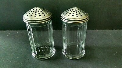Set Of 2 Vintage Ribbed Glass Powdered Sugar/Cheese Jar W/ Shaker Top Dispenser