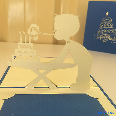 pop up 3D Birthday card boy blowing candle greeting card gift card
