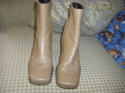 NINE WEST 6 M Leather Ankle GoGo Boot Bootie Square Toe Chunky Heel Camel Tan