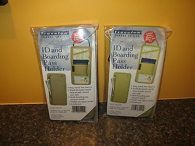 Lot of 2:  NIB NOS Travelon ID & Boarding Pass Holder Style #6249  Green / Tan