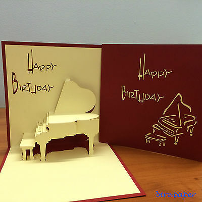 Piano 3D Birthday card pop up greeting card gift card red