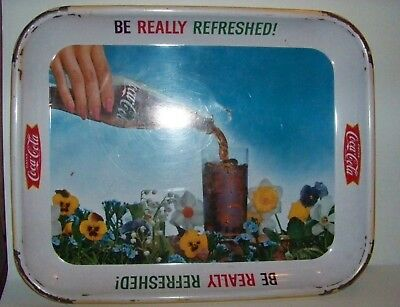 "Vintage 1961 Coca-Cola ""Be Really Refreshed"" Metal Flower Serving Tray"