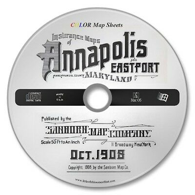 Annapolis, Maryland 19 Color Sanborn Maps Sheets Year 1908 on New CD