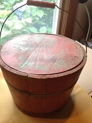 Antique Wood Staved Lidded Red Firkin with Wire & Wood Handle