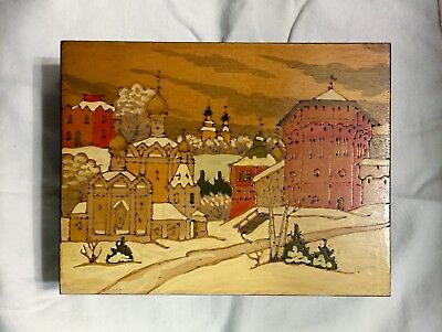 Large Vintage Russian Pyrography, Carved Wood And Hand Painted Box