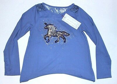 Girls Sz 5 Unicorn Shirt Long sleeved Sequin Sparkly Top New w tags