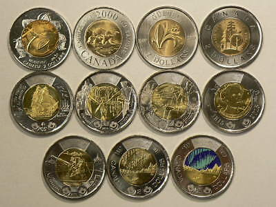 1999 to 2017 Canada $2 Dollars  Lot of 11 Unc Commemorative Coins #G9001