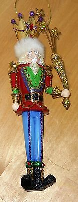 "Christmas Holiday King Nutcracker 7"" wood blue red crown sparkle"