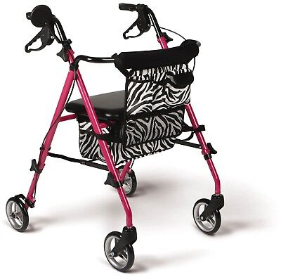 Medline Posh Pink Rollator Walker With Zebra Storage Bags And 6' Wheels