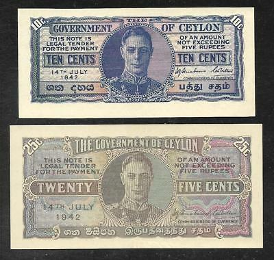Ceylon - Old 10 & 25 Cent Notes - 1942 - P43a & P44a - Both Uncirculated