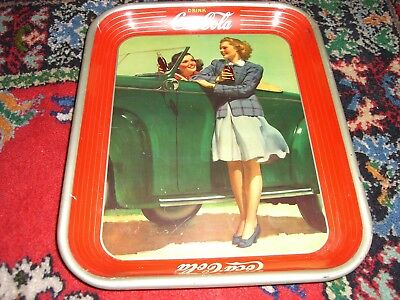 Vintage 1942 Coca-Cola Two Girls & a Car Serving Tray
