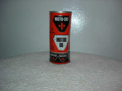 Vintage Moto- Ski 2 Cycle Snowmobile Motor Oil- Huile A Moteur- Full Can