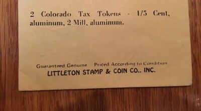2 Colorado Sales Tax Tokens State Treasurer 2 Retail/ One Fifth Cent Series A-35