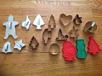 17 Vintage Metal Cookie Cutters Tree Gingerbread Heart Candle Snowman Hallmark