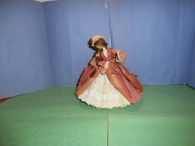 Nan's Hand Made Corn Husk Doll The Night Cap with Lace Dress and Candle Stick