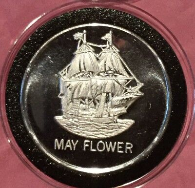 May Flower Ship Collectible Coin 1 Troy Oz .999 Fine Silver Round Medal Bullion