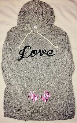 Cloudless grey love baby girl Maternity Hoodie  Medium