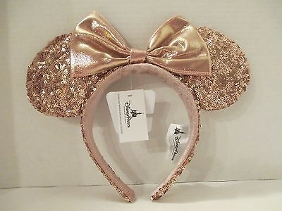 Disney Parks ROSE GOLD Minnie Mouse Ears Headband Mickey Ears Pink READY TO SHIP