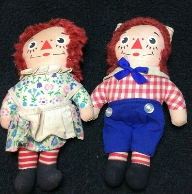 "Vintage Knickerbocker  SMALL Raggedy Ann And Raggedy Andy 7"" Dolls Set, ADORABLE"