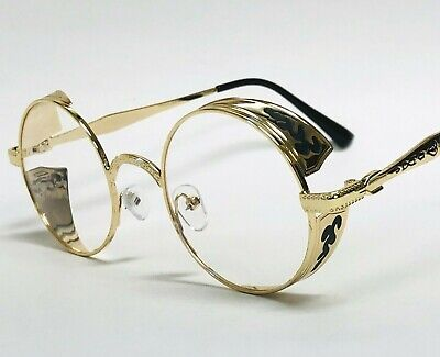 Fashion Metal Gold Round Buffs Designer Eyeglasses Oval Frame Clear Lens Glasses