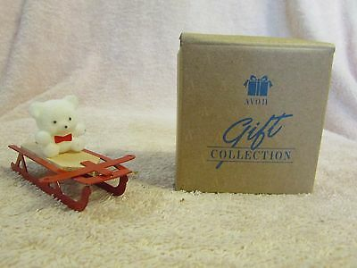 Avon Gift Collection Teddy Bear Ornament Collection Teddy On Sliegh Mib