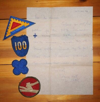 WWII Patches With Original Letter From WAC 84th 88th 100th Divisions X0086