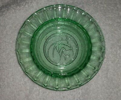 VINTAGE MGM GRAND LAS VEGAS GREEN GLASS ASHTRAY w/ MGM LION VERY GOOD CONDITION