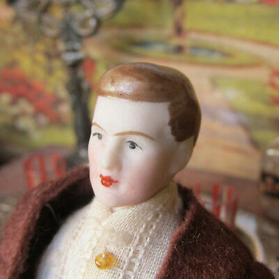 Antique Dollhouse MAN DOLL Bisque Porcelain Victorian 1800s - Early 1900s Parian