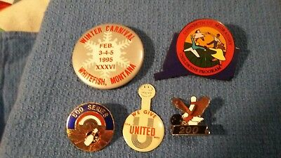 5 Vintage Pins  1 We Give The United Way  2 Bowling  1 Whitefish Montana  1child