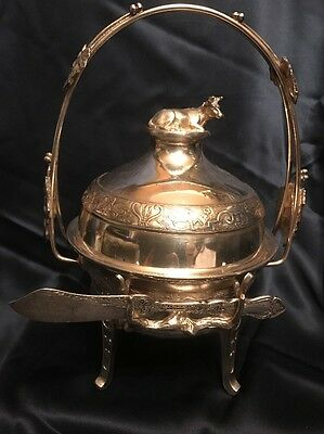 Antique Reed & Barton Silverplate Butter Dish w Figural Cow, Insert & Handle