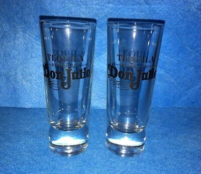 Lot Of Two Don Julio Black Letter Tall Shot Glasses Set Of 2 - Great Condition