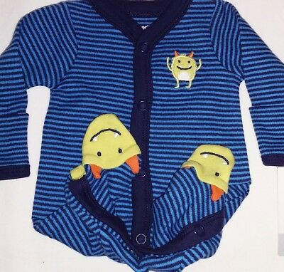 Preemie boy Blue stripes with Green monster sleep N Play outfit by Carter's.