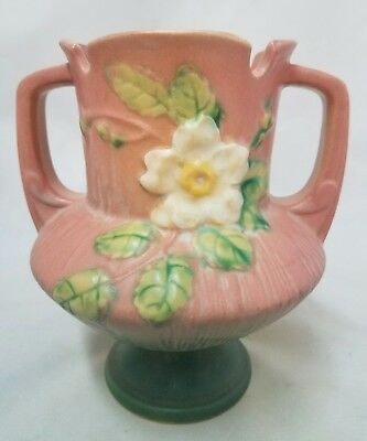 Gorgeous Roseville Pink Dusty Rose with White Rose Pattern Trophy Vase  146-6