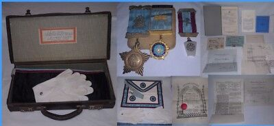 FreeMason briefcase, medals, apron, certificates, receipts, letters & booklets