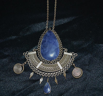 Old Tribal Silver And Lapis Lazuli Gemstone Pendant Necklace.
