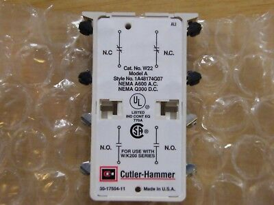 Cutler Hammer W22 auxiliary contact kit 2 no & 2 nc