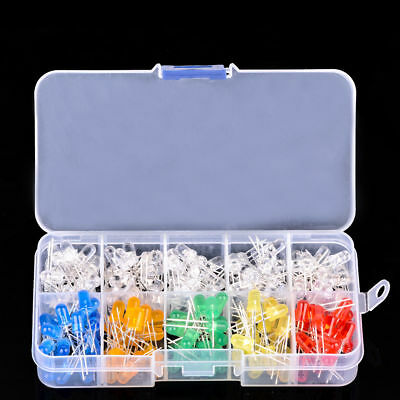 200pcs 10 value Five Colors 5mm Round Bright Light LED Diode Lamp Assortment kit