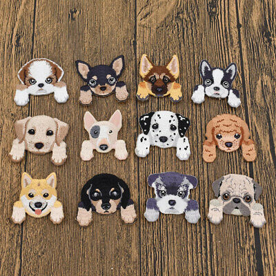 Cute Puppy Dog Shape Patches Iron On Fabric Applique Craft Clothing Decor DIY