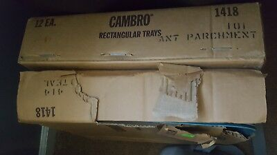 "CAFETERIA TRAYS - CAMBRO 14"" X 18"" , FIBERGLASS, 12 TEAL and 12 WHITE 1418. NIB"