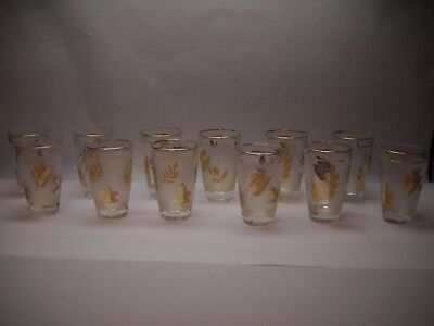 SET OF 12 Libby GLASS Frosted and CLEAR with GOLD LEAVES and Trim Mid CENTURY