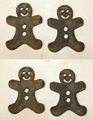 """Lot of 4 Gingerbread Man Shapes 3"""" Rusty Metal Vintage Christmas Ornament Craft"""
