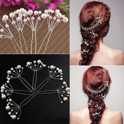 5Pcs Bridal Hair Pins Rhinestone Pearl Diamante Flower Slide Clips Grips Wedding