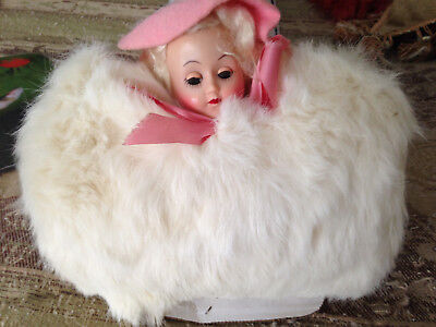 Vintage White Rabbit Fur GIRL'S HAND MUFF with Doll Head and PINK HAT