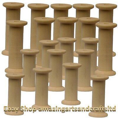 Wooden Spools Bobbins 50mm  75mm Mix Pack Of 20 Sewing Ribbon Craft
