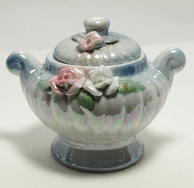 Vintage Porcelain Small Blue Enamel Flowered Two Handled Sugar Bowl