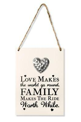 Wooden Heart Wall Quote Plaque Sign Love Home Family Inspirational Shabby Chic