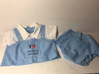 Vintage Baby Boy 0-6 Months Outfit Embroidered 50's 60's Doll Clothes
