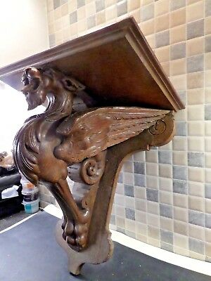 Antique French Gothic Hand Carved Oak Griffin Wall Bracket Shelf From Old Chapel