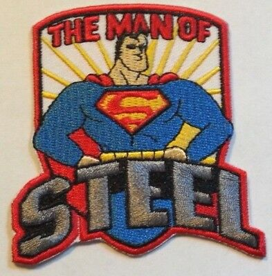 """Superman """"The Man of Steel"""" Patch~3"""" x 2 7/8""""~Embroidered~DC Comics~Iron Sew on"""