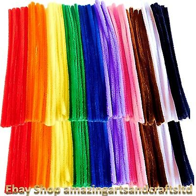 100 Giant Pipe Cleaners Chenille Stems 30cm x 12mm 10 Assorted Colours each Pack